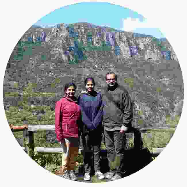 Nandini and her family pose mid-hike (Nandini Chakraborty)