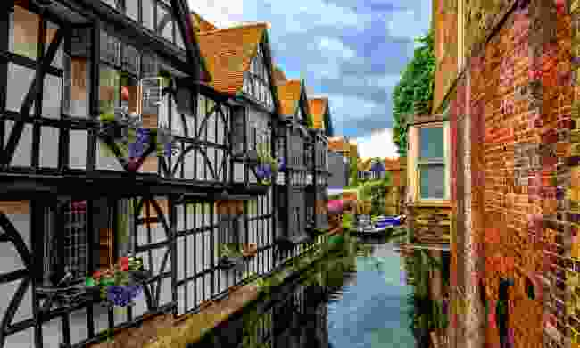 Medieval half-timber houses overlook the Stour river in Canterbury Old Town (Shutterstock)