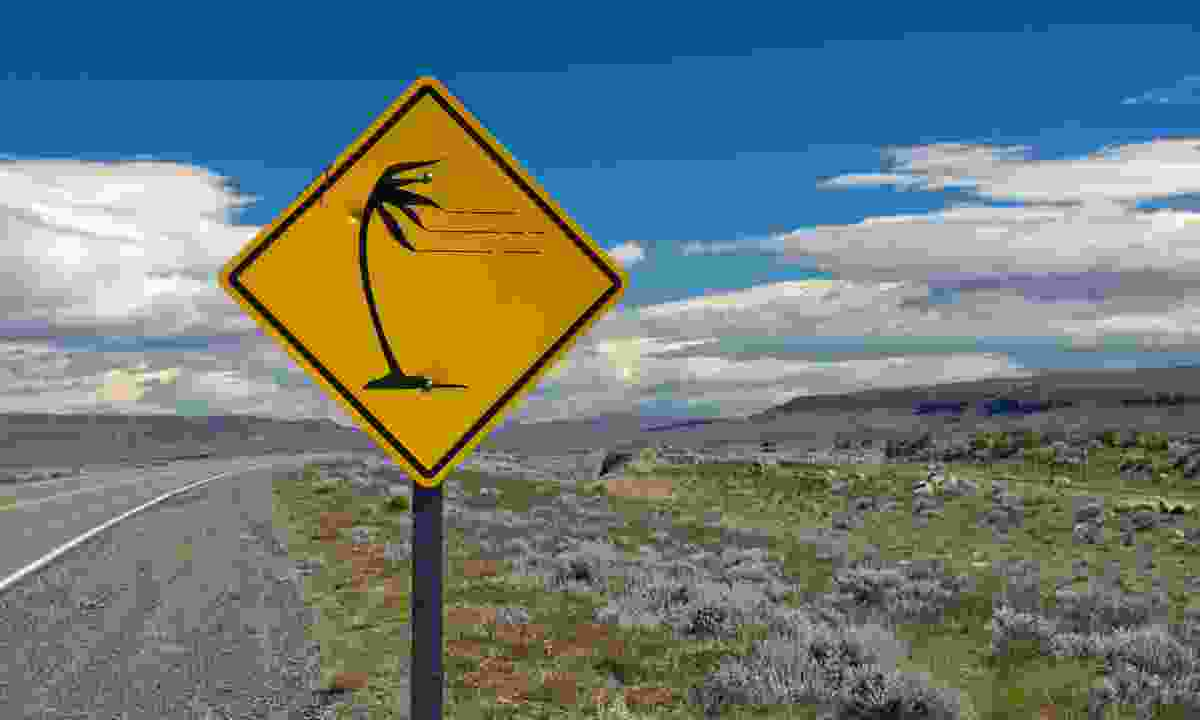 A sign warning of gusty winds in the pampas, Argentina (Shutterstock)