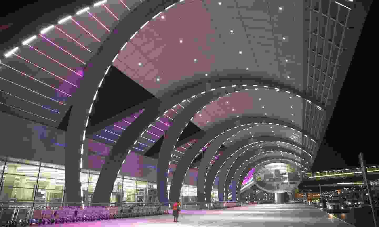 Dubai airport terminal at night (Shutterstock)