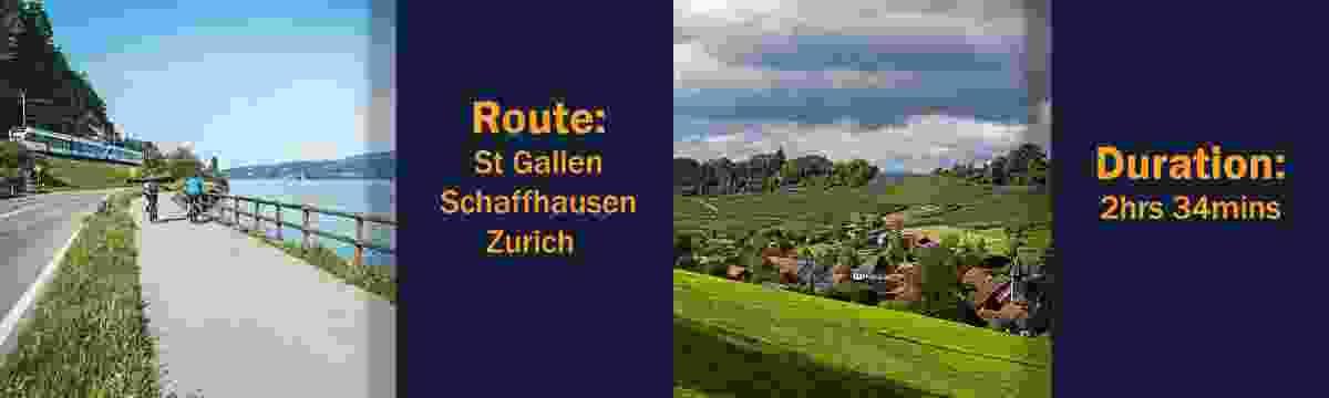 Route: St Gallen – Schaffhausen – Zurich; Duration: 2hrs 34mins (Switzerland Tourism Board)