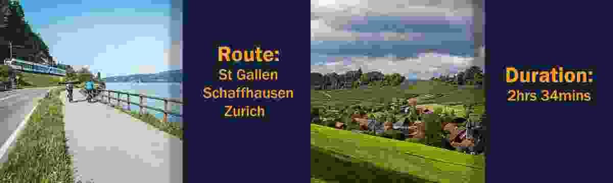 Route: St Gallen – Schaffhausen – Zurich; Duration: 2hrs 34mins (Switzerland Tourism Board)