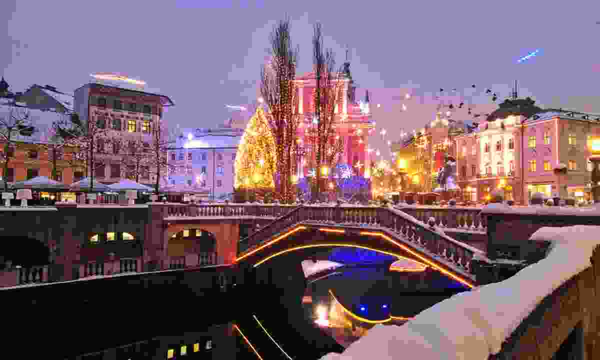 Christmas lights in Ljubljana city centre (Dreamstime)