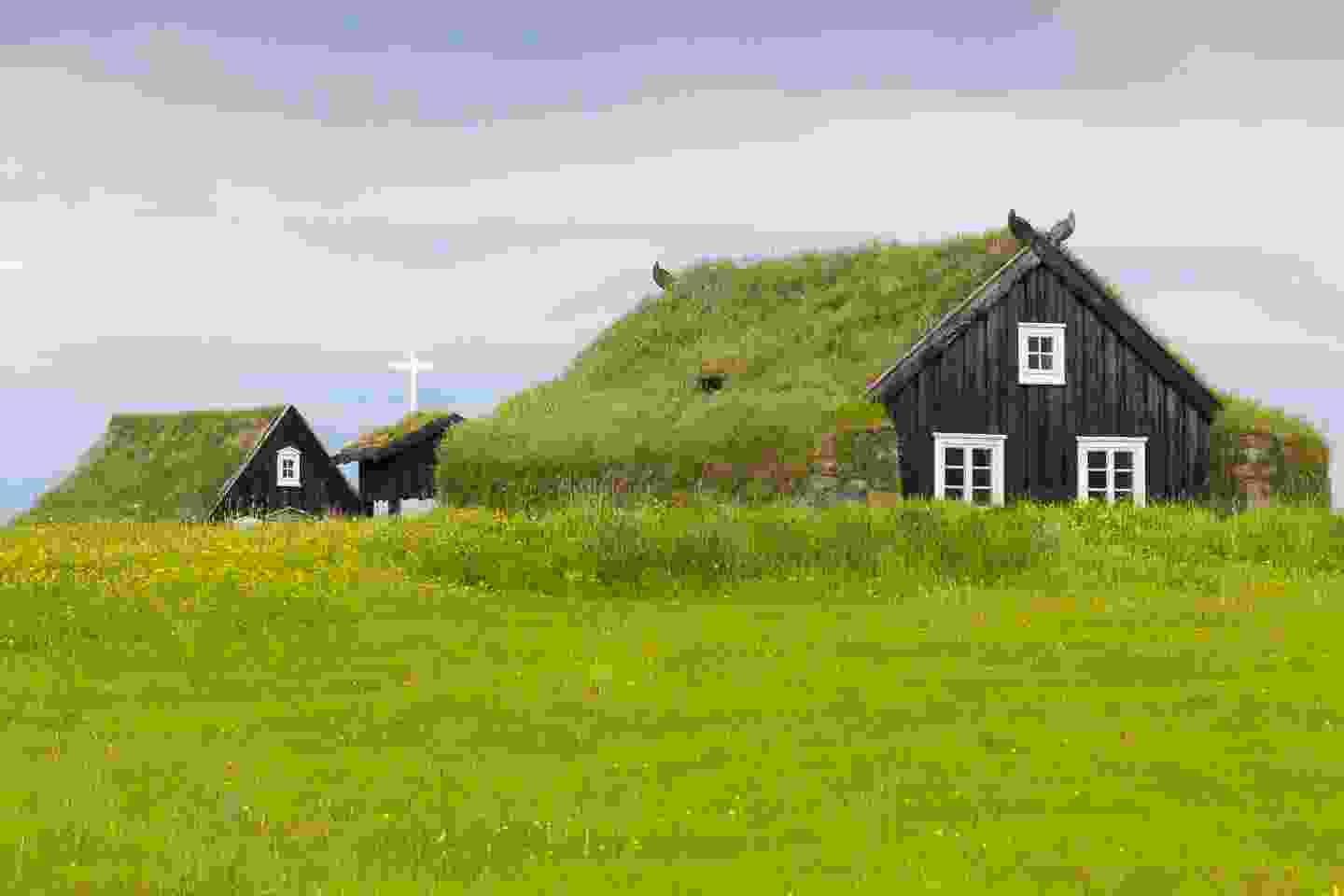 One of many grass-covered ancient homes in Árbæjarsafn, the Árbær Open Air Museum (Shutterstock)