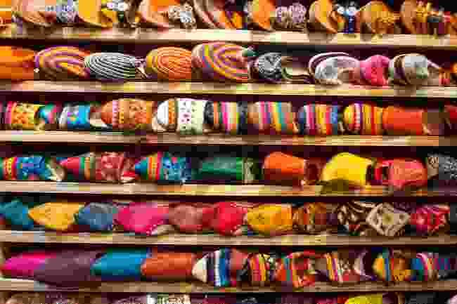 Shoes in a Moroccan bazaar (Shutterstock)