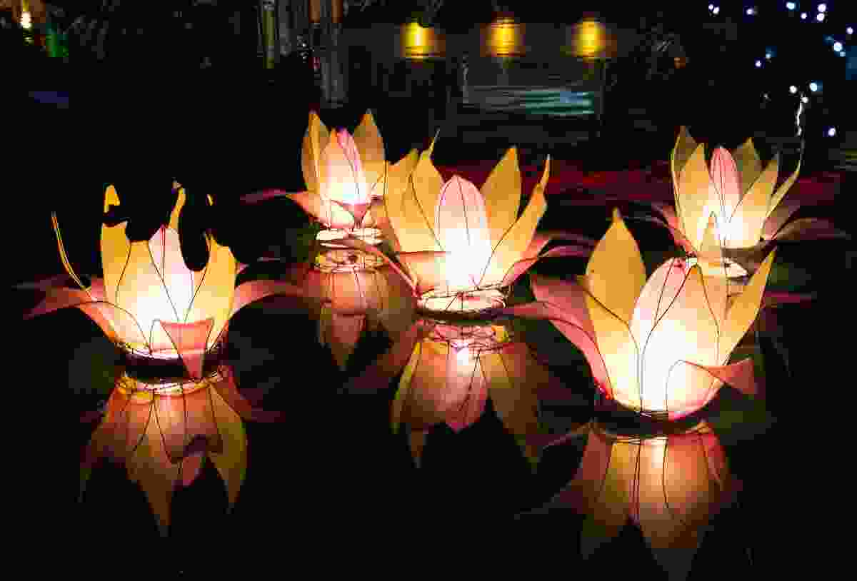 Lanterns floating in commemoration of Buddha, on Vesak Day (Shutterstock)