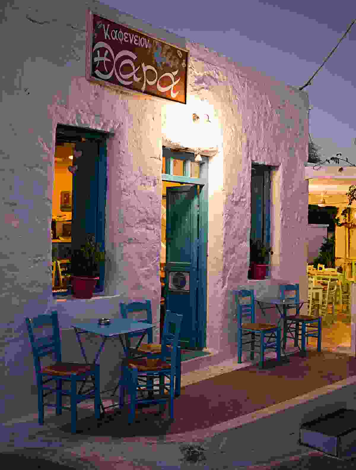 Outdoors cafe of Chora village at night (Shutterstock)