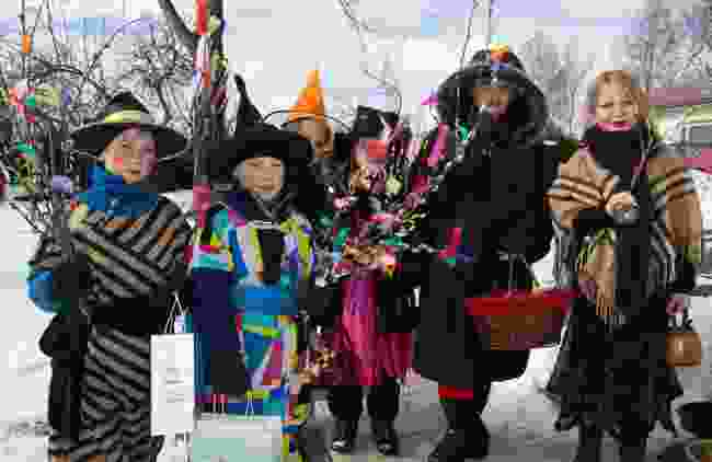 Children in Finland dressed for Easter - as witches! (Dreamstime)