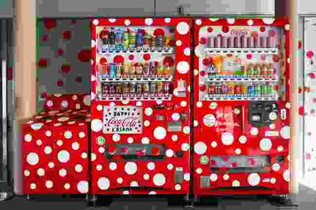 Spotty Coca Cola vending machines. Western sodas are not that popular in Japan and have to try harder to attract customers (Shutterstock)