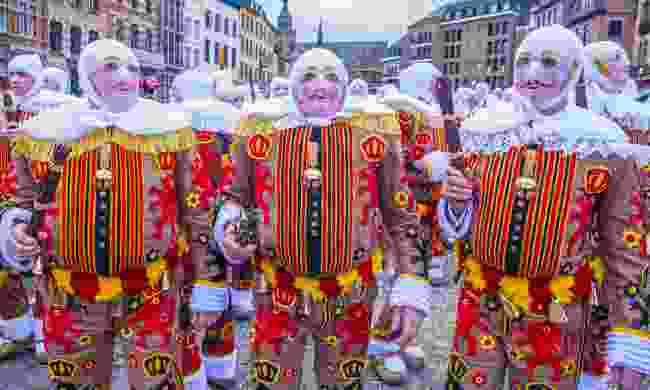 The unnerving Gilles at the carnival in Binche (Shutterstock)