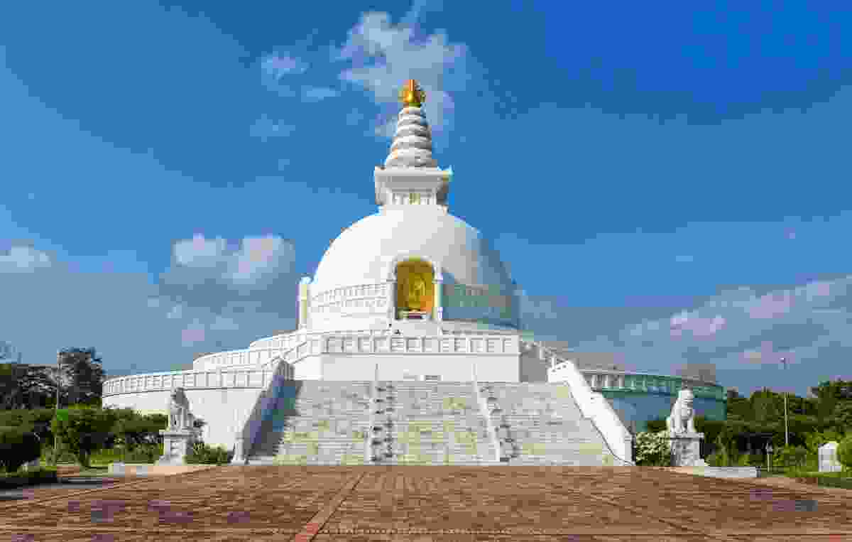 The World Peace Pagoda, inscribed as Buddha's Birthplace, in Lumbini, Nepal (Shutterstock)