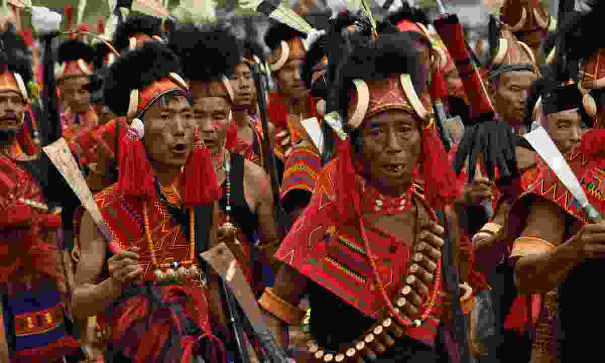 Men from the Konyak tribe perform at the Aoling Festival (Dreamstime)