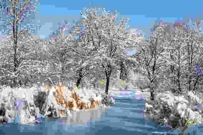 Frozen lake in Sofia, Bulgaria (Dreamstime)