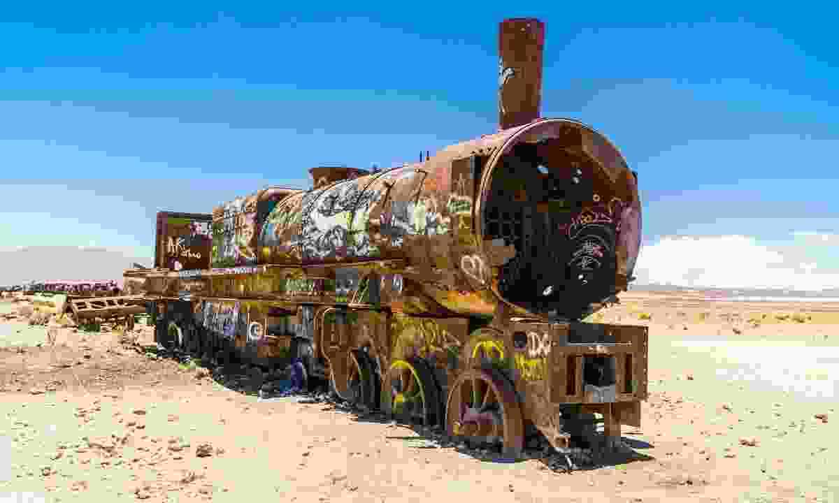 Rusty train in the train cemetery at Uyuni (Shutterstock)