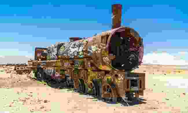Rusty train in the train cemetery at Uyuni (Shutterstock)