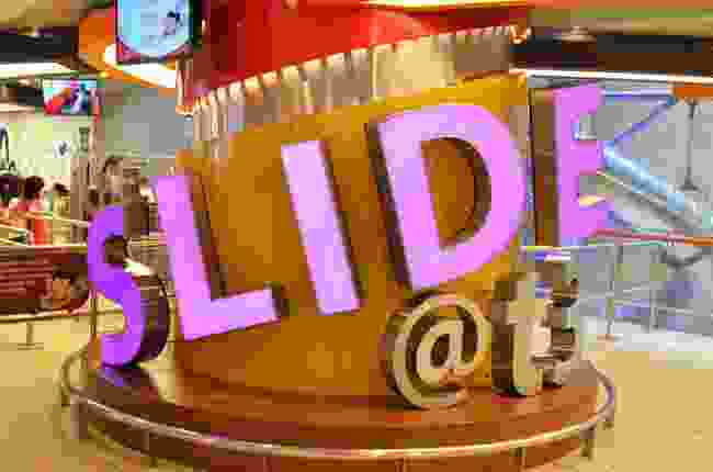 The entrance to Slide@T3, Changi Airport, Singapore (Dreamstime)