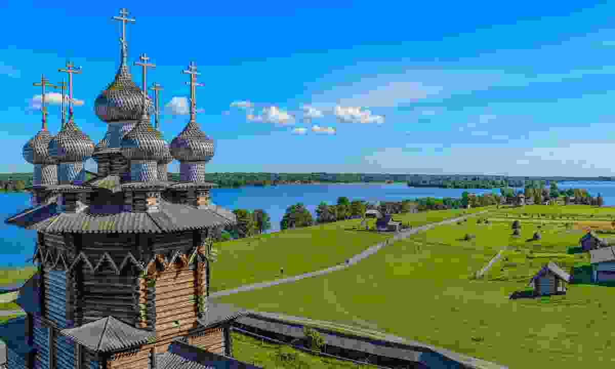 Kizhi island from the bell tower in Pogost, Russia (Shutterstock)