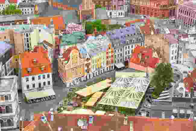 An aerial view of Dom's Square in Riga, Latvia (Dreamstime)