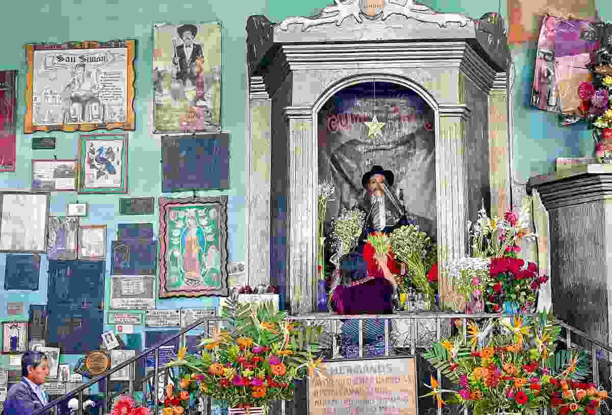 The image of Maya deity and folk saint Maximon at San Andres Itzapa Temple of San Simon (Sarah Gilbert)