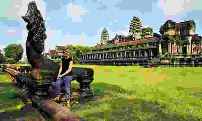Caroline Lywood enjoying the quiet side of Angkor Wat (Caroline Lywood)