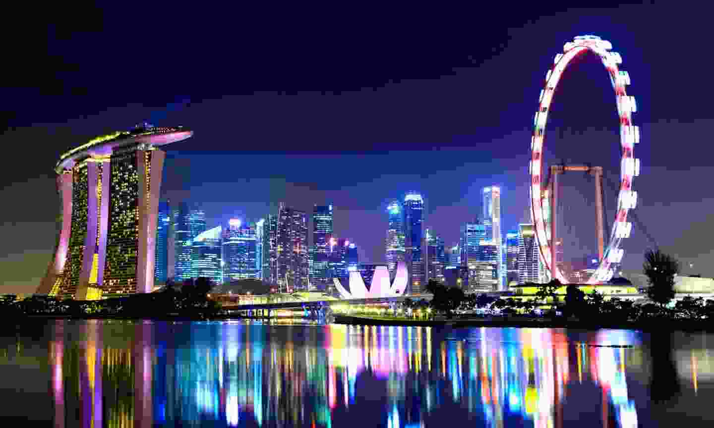 Singapore at night. You should see the sights if your stopover's long enough (Shutterstock)