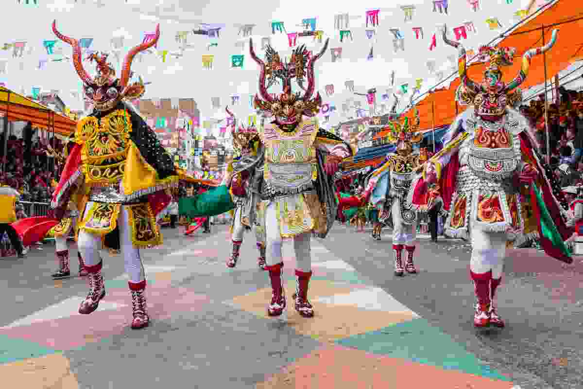 Dancers on the streets of Bolivia during Oruro (Shutterstock)