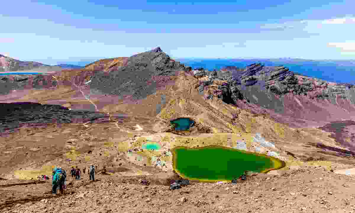 A trail of hikers tackling the terrain of the Tongariro Alpine Crossing