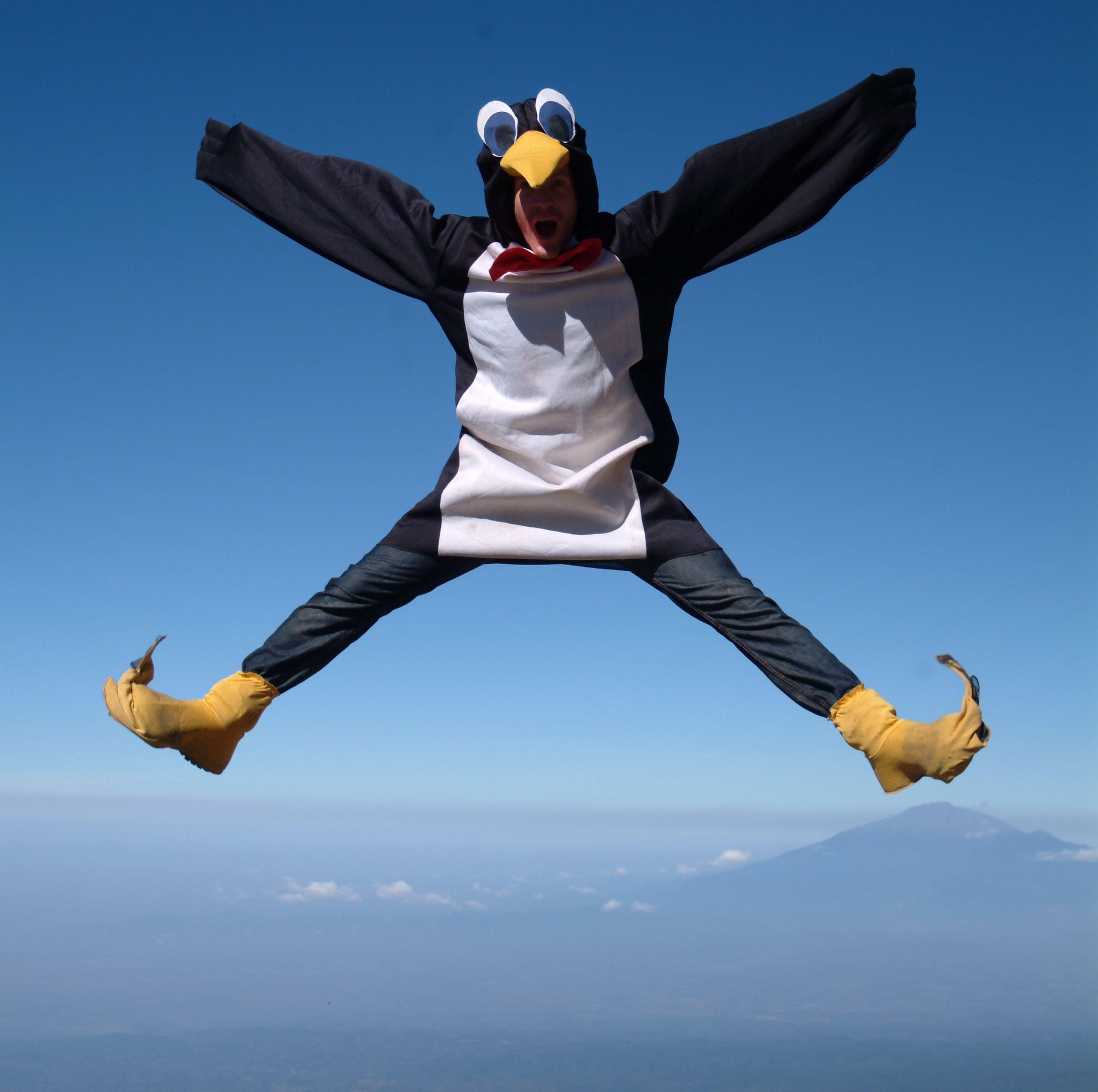 On top of Kilimanjaro, dressed as a penguin (Sean Conway)