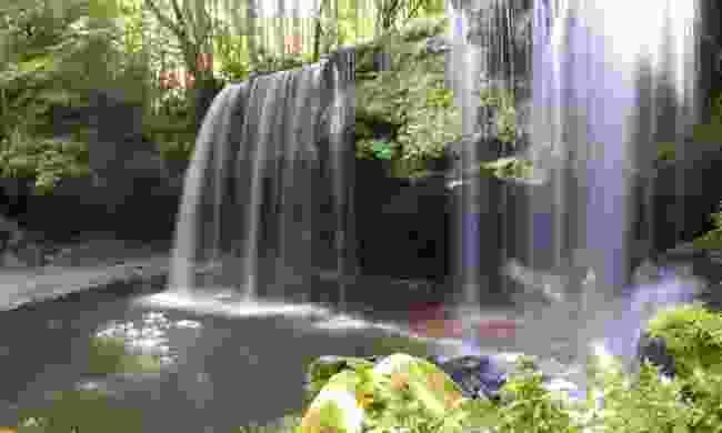 The gliding Nabegataki waterfall in Aso
