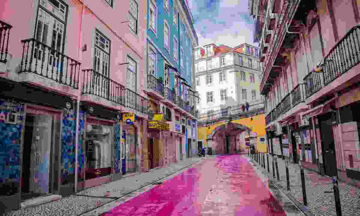 Lisbon's pink street, Rua Nova Do Carvalho (Shutterstock)
