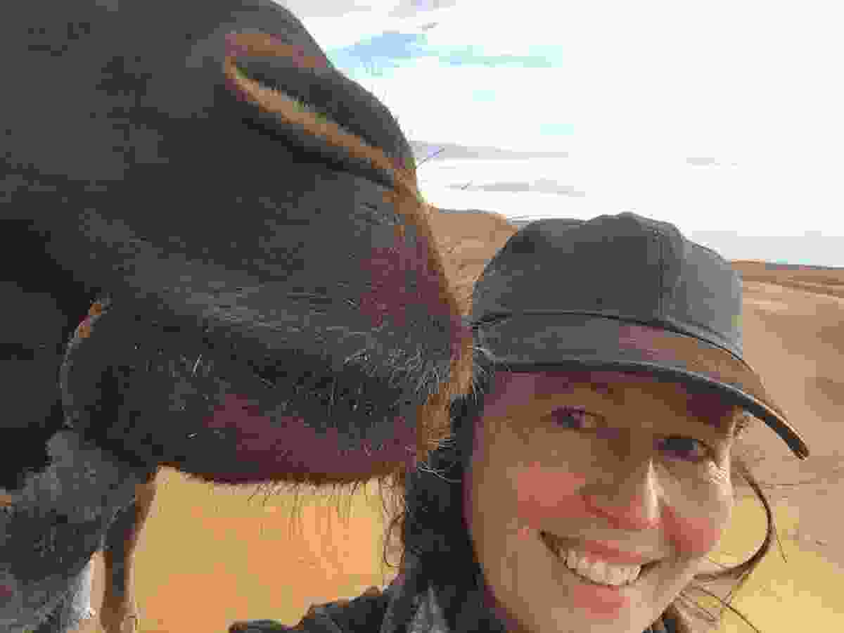 Presenter and author Alice feels the love from one of Guelmim's camels (Alice Morrison)