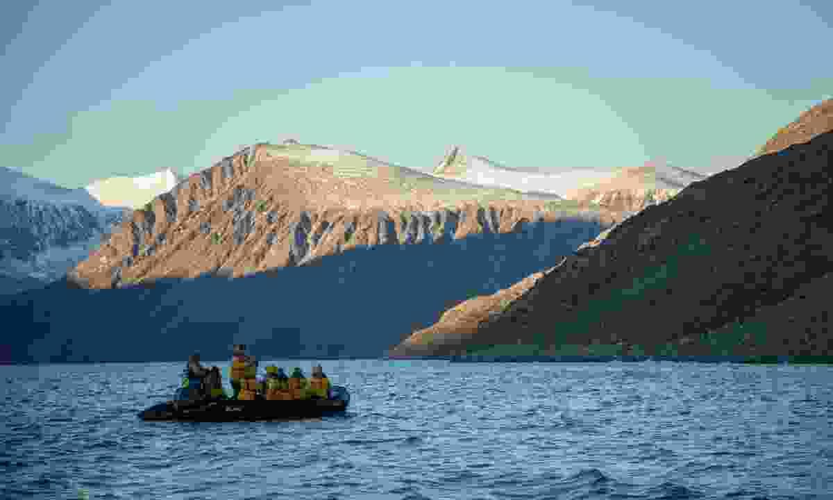 Exploring remote Baffin Island by Quark Expeditions' Zodiac (Acacia Johnson)