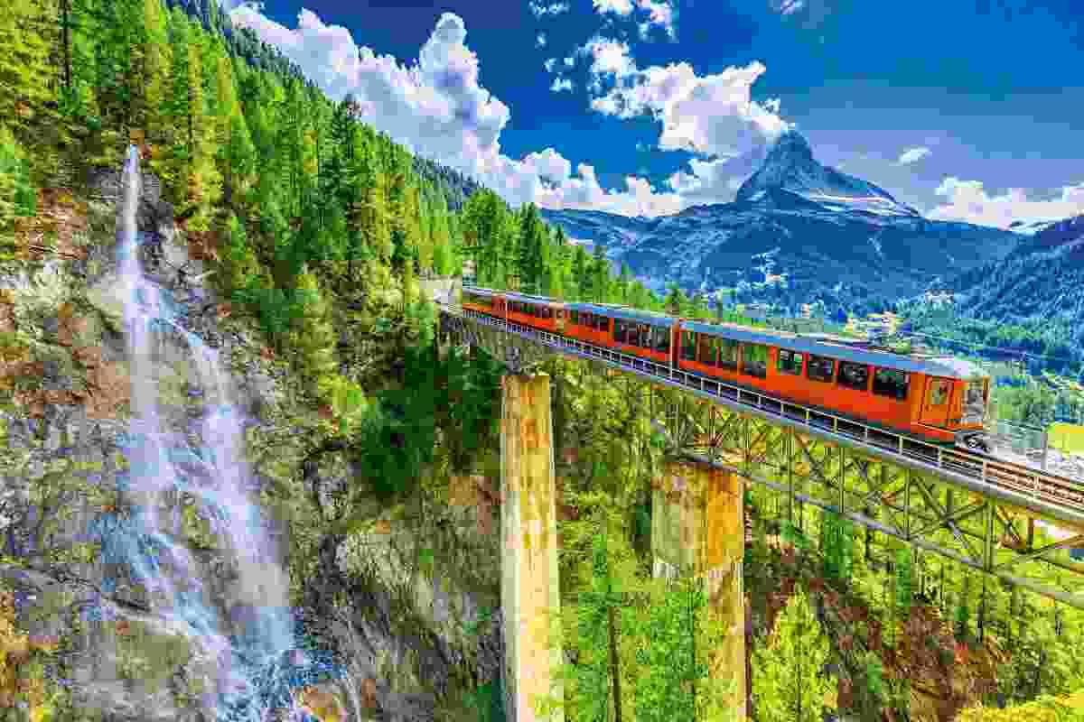 The Gornergrat train in front of the Matterhorn, Switzerland (Shutterstock)