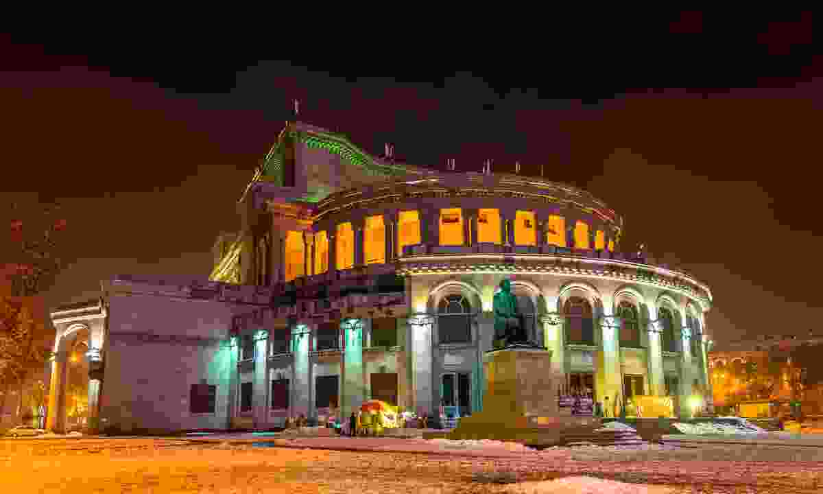 Yerevan's opera theatre at night (Dreamstime)