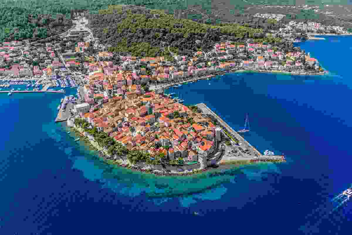 An aerial shot of Korcula's Old Town, Croatia (Shutterstock)