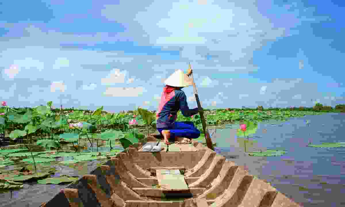 A woman rowing a boat down the Mekong in rural Vietnam (Shutterstock)