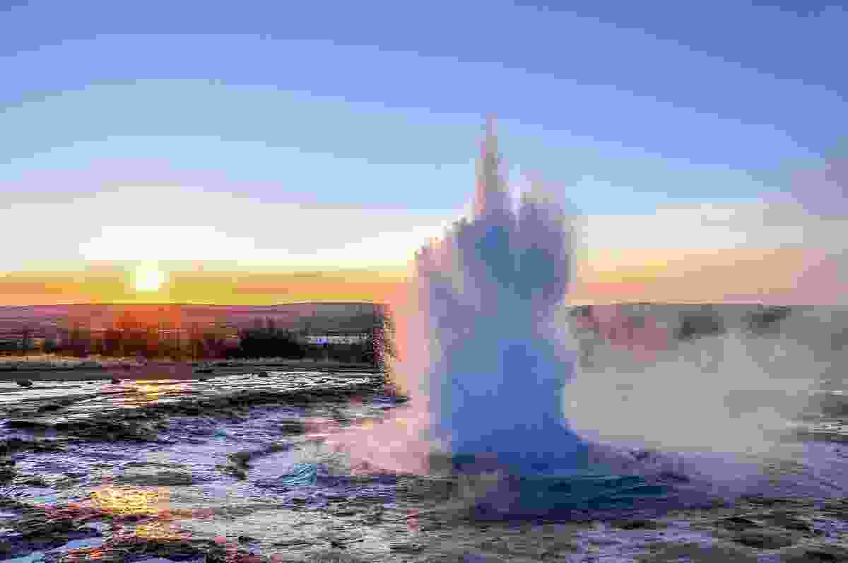Geysir looking dramatic one early morning in Iceland (Shutterstock)