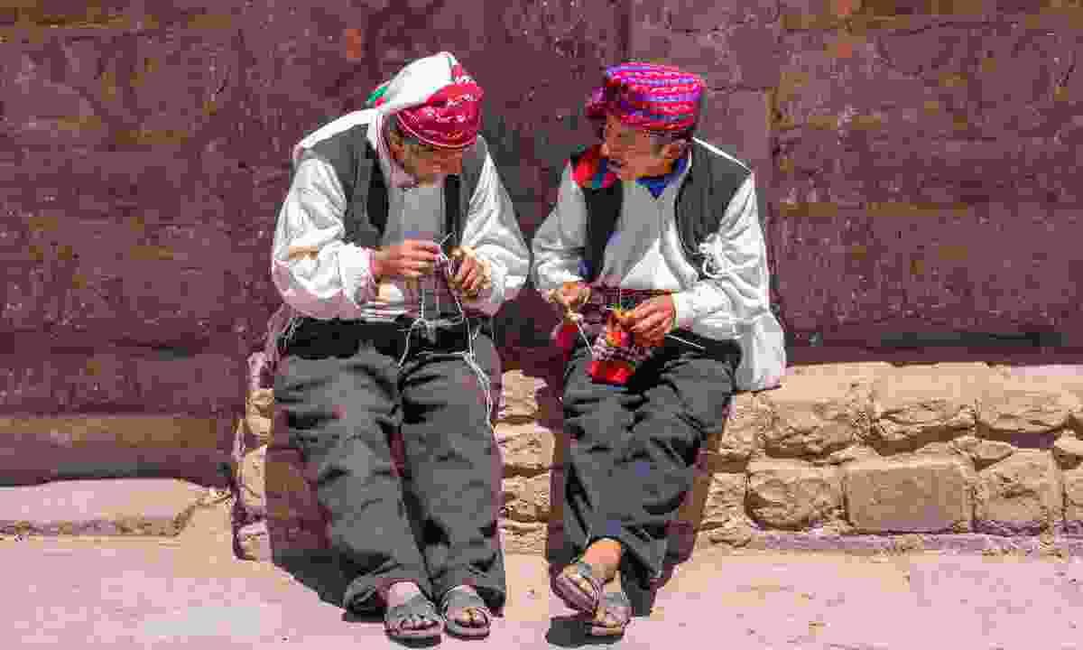 The famous knitting men of Isla de Taquile (Shutterstock)