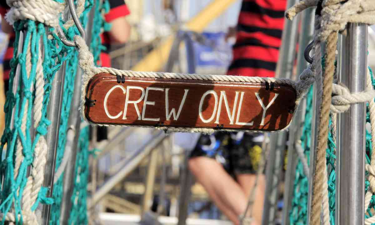 Crew only sign (Shutterstock.com)