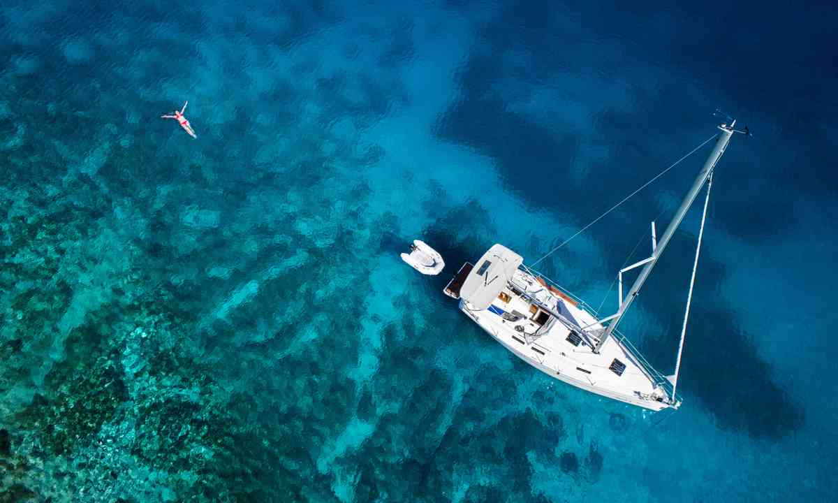 Aerial view of yacht near coral reef (Shutterstock.com)