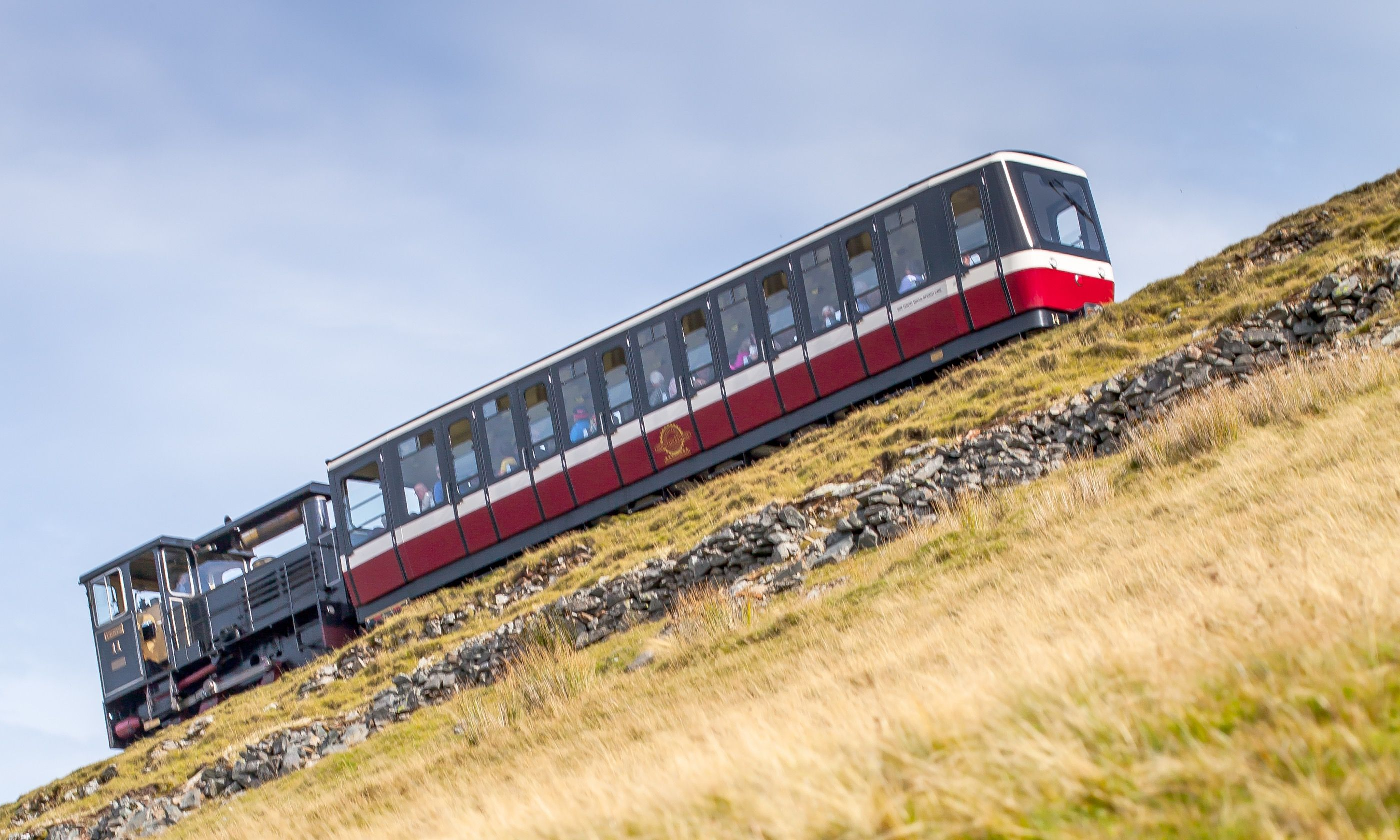 A carriage on the Snowden Railway being pushed up a steep incline (Shutterstock.com)