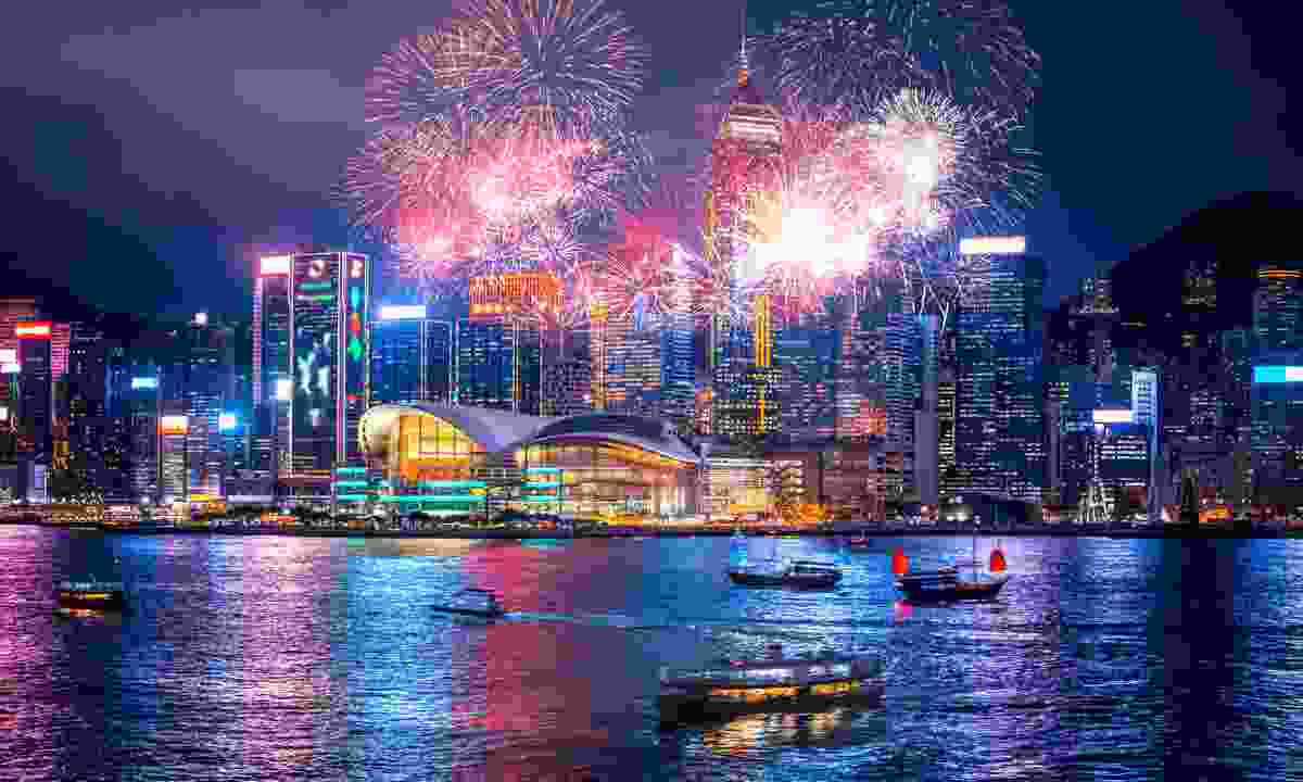 Chinese New Years fireworks in Victoria Harbour (Shutterstock)