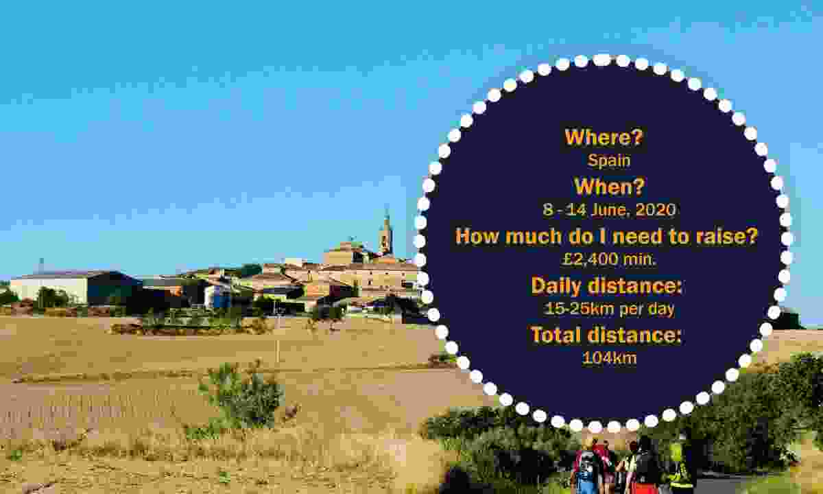 Where? Spain When? 8 - 14 June, 2020 How much do I need to raise? £2,400 min. Daily distance: 15-25km per day Total distance: 104km (Marie Curie)