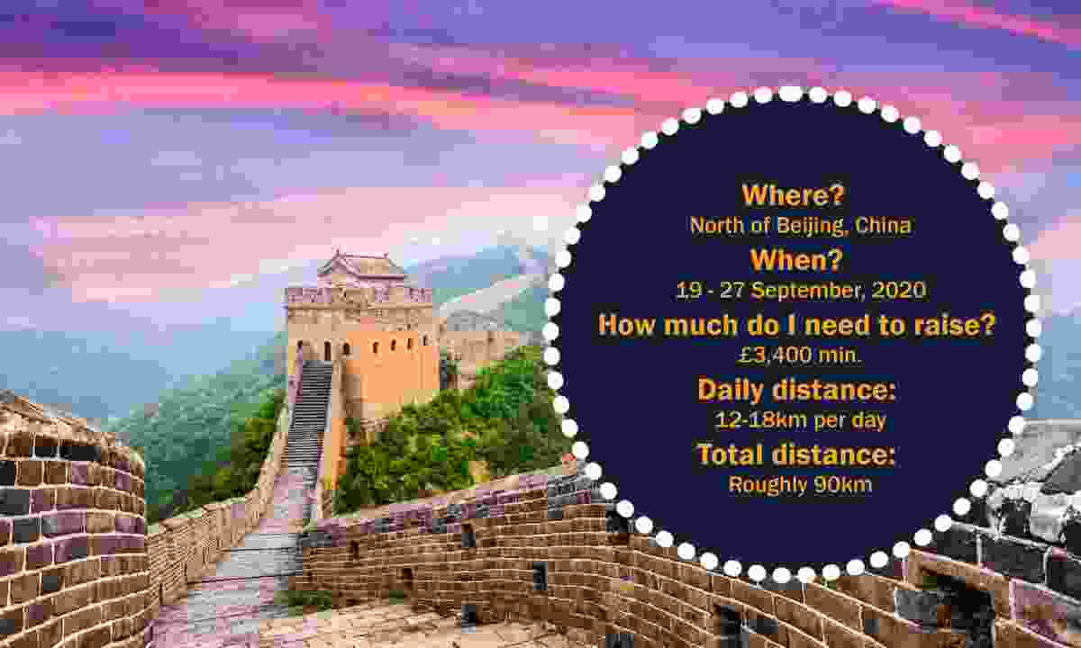 Where? North of Beijing, China When? 19 - 27 September, 2020 How much do I need to raise? £3,400 min. Daily distance: 12-18km per day Total distance: Roughly 90km (Dreamstime)