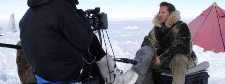 Filming on the Arctic ice (Inge Solheim)