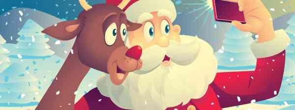 Rudolph and Santa selfie (Dreamstime)