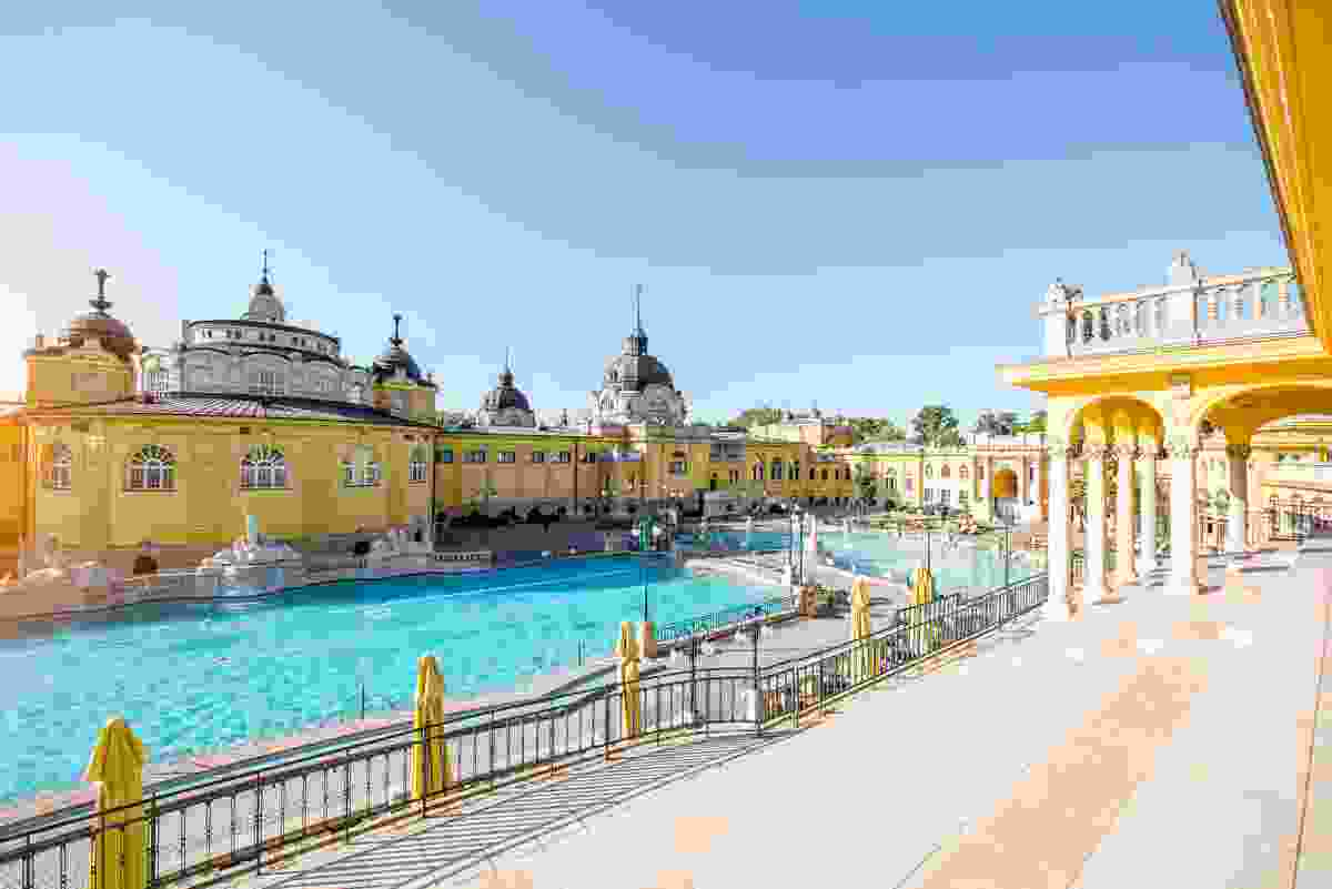 Budapest's famous Szechenyi Baths, in the sun, before everyone arrives... (Shutterstock)
