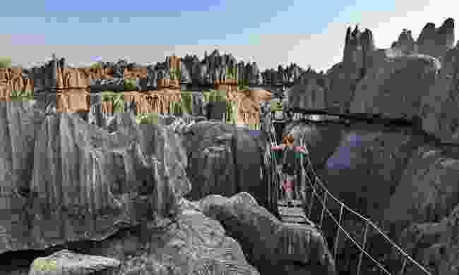 Crossing a suspension bridge in Tsingy de Bemaraha (Shutterstock)