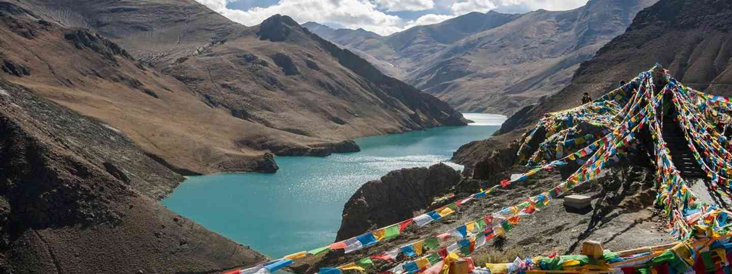 Multi-coloured prayer flags flutter all over Tibet (Dreamstime.com)
