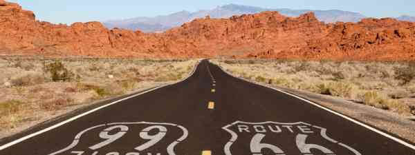Route 66 pavement sign (Shutterstock: see credit below)